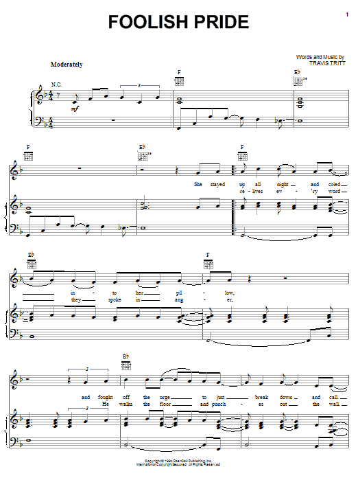 Travis Tritt Foolish Pride sheet music notes and chords. Download Printable PDF.