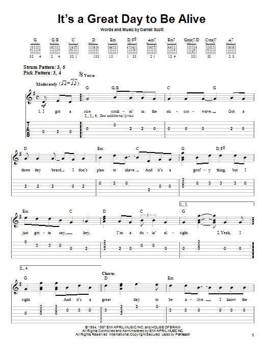 Travis Tritt It's A Great Day To Be Alive sheet music notes and chords. Download Printable PDF.