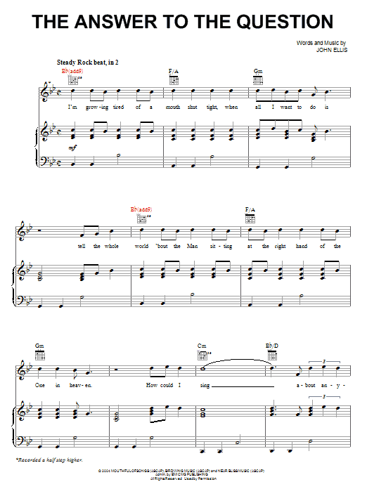 Tree63 The Answer To The Question sheet music notes and chords. Download Printable PDF.