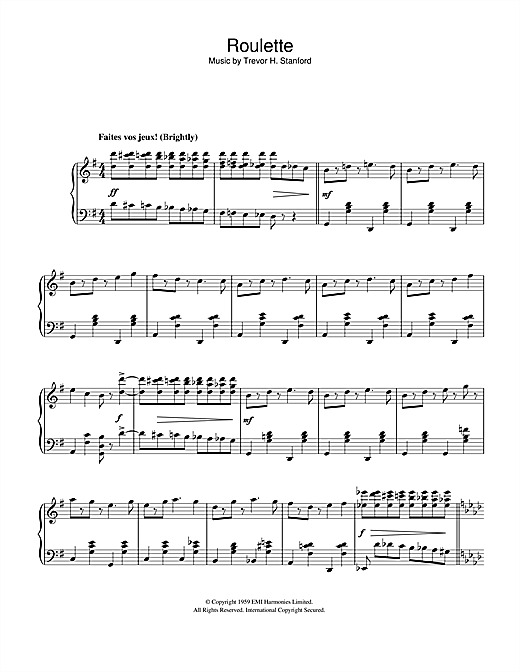 Trevor H. Stanford Roulette sheet music notes and chords. Download Printable PDF.