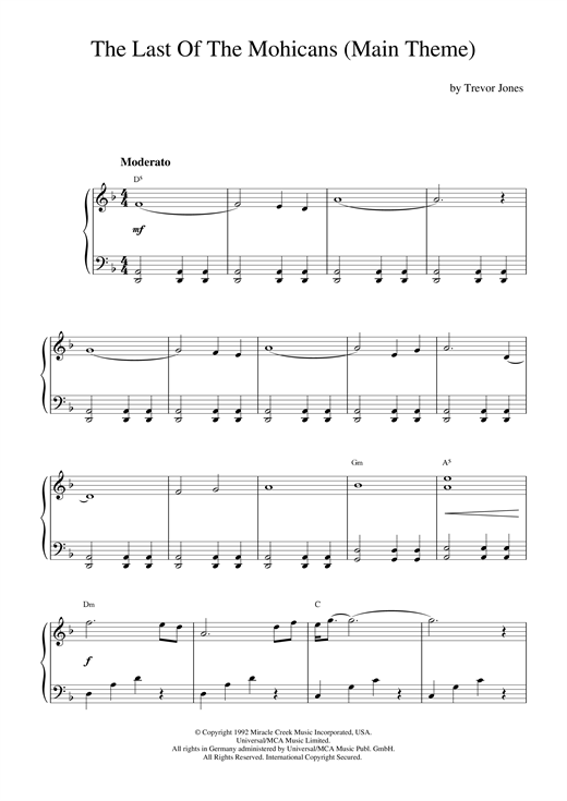 Trevor Jones The Last Of The Mohicans (Main Theme) sheet music notes and chords