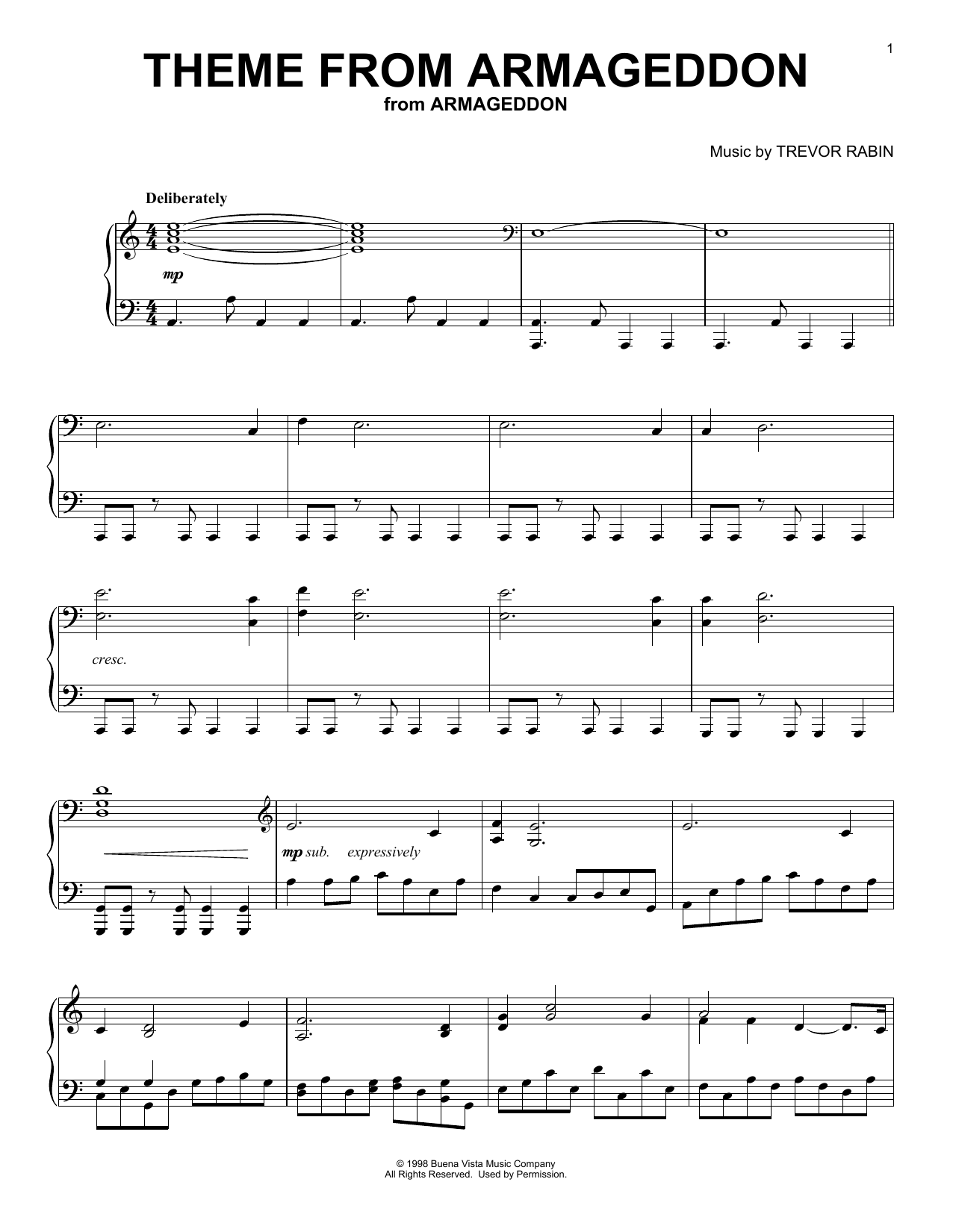 Trevor Rabin Theme From Armageddon sheet music notes and chords. Download Printable PDF.