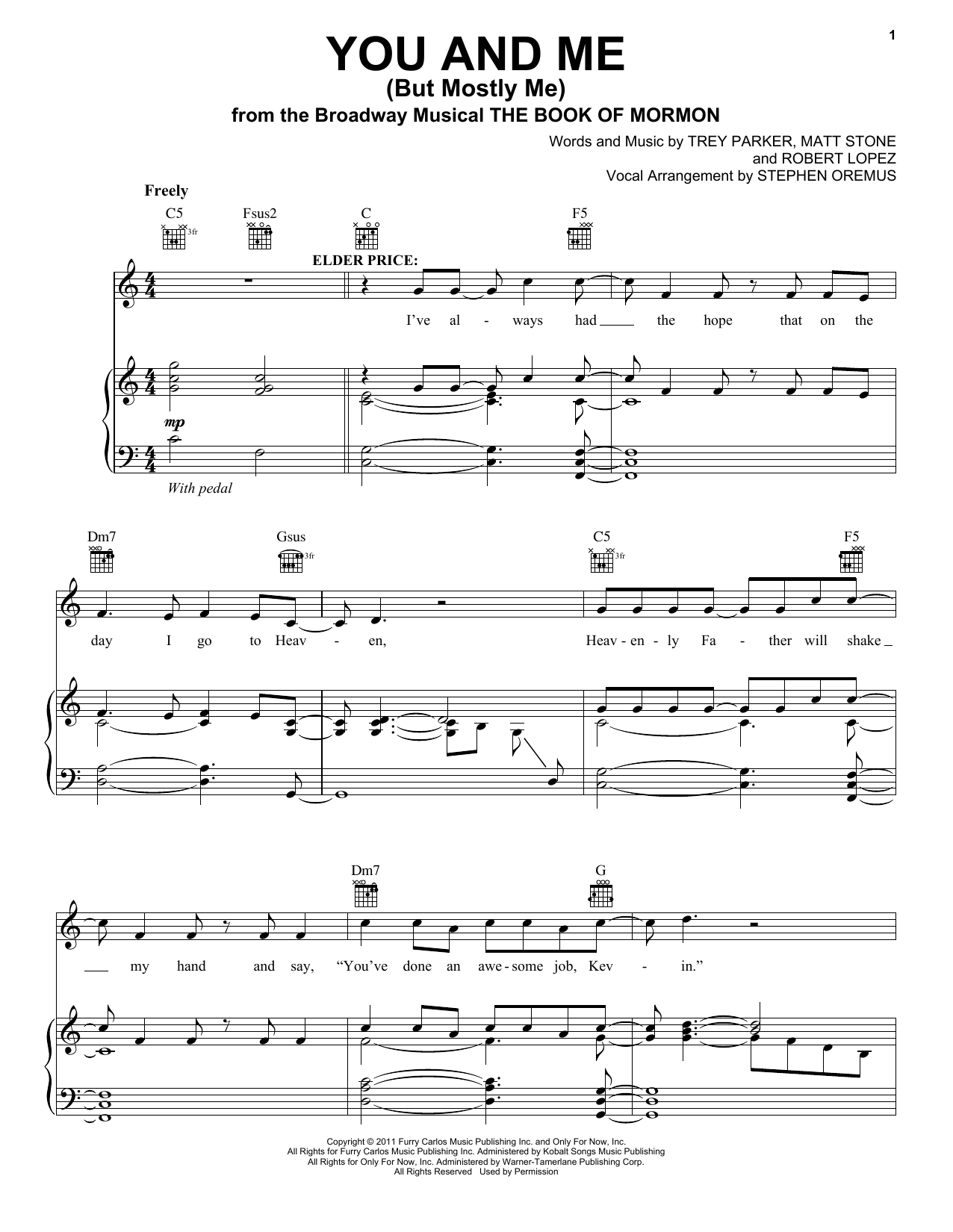 Trey Parker You And Me (But Mostly Me) sheet music notes and chords. Download Printable PDF.