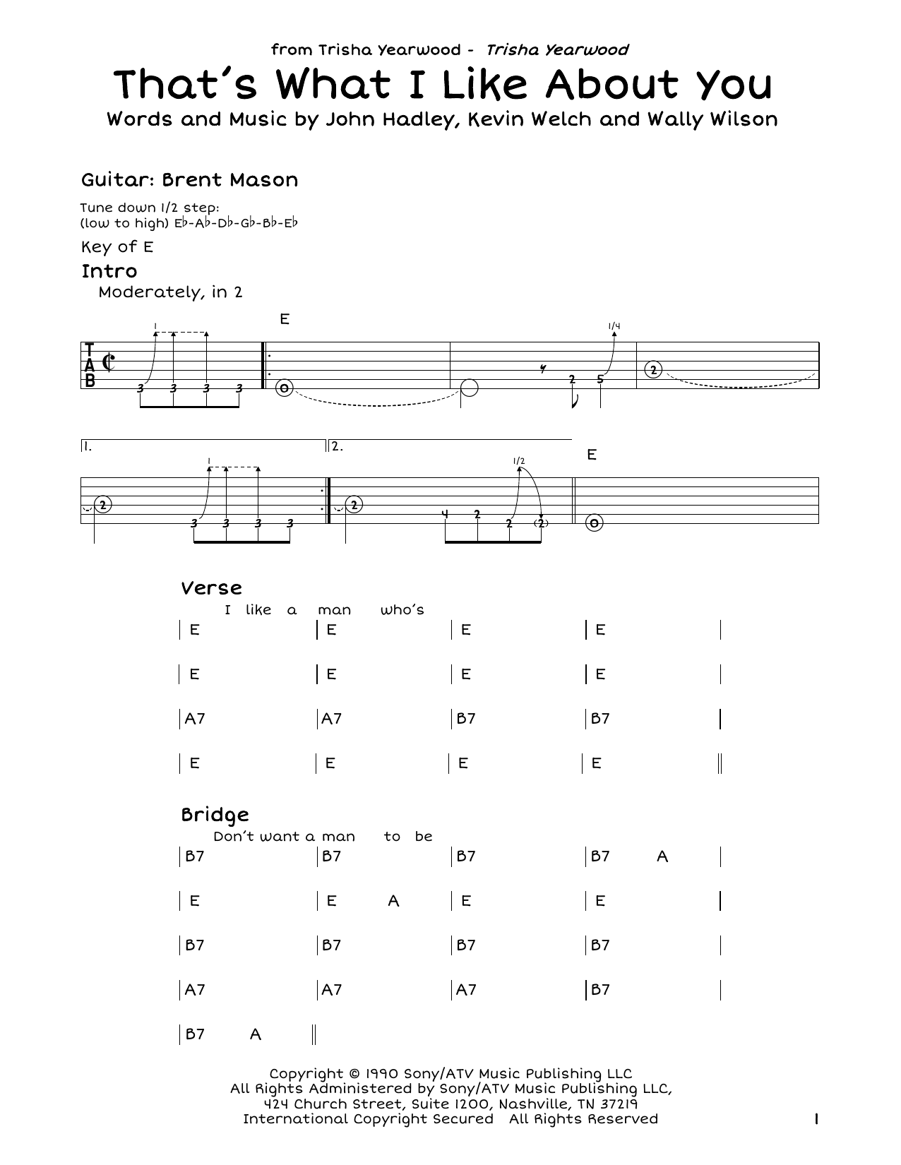 Trisha Yearwood That's What I Like About You sheet music notes and chords. Download Printable PDF.