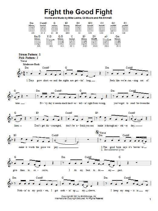 Triumph Fight The Good Fight sheet music notes and chords