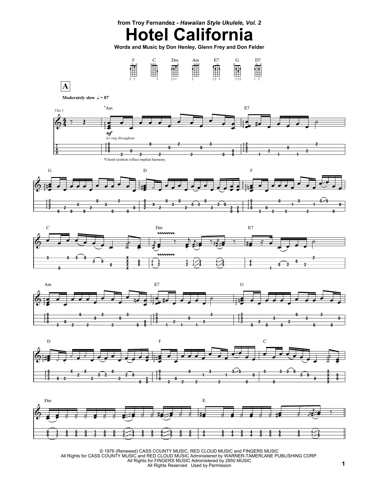 Troy Fernandez Hotel California sheet music notes and chords. Download Printable PDF.