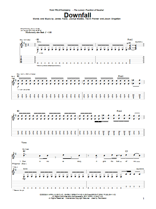 TRUSTcompany Downfall sheet music notes and chords. Download Printable PDF.