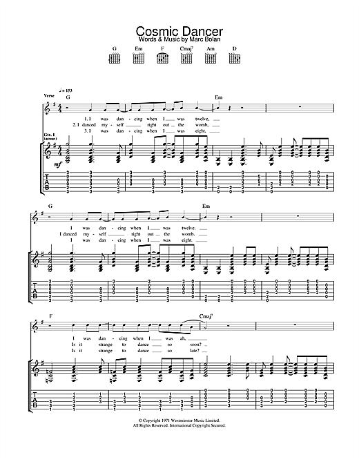 factory remise chaude nouvelle saison T. Rex 'Cosmic Dancer' Sheet Music Notes, Chords | Download Printable  Guitar Chords/Lyrics - SKU: 117954