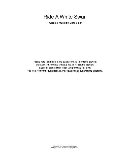 T  Rex 'Ride A White Swan' Sheet Music Notes, Chords | Download Printable  Guitar Chords/Lyrics - SKU: 106821