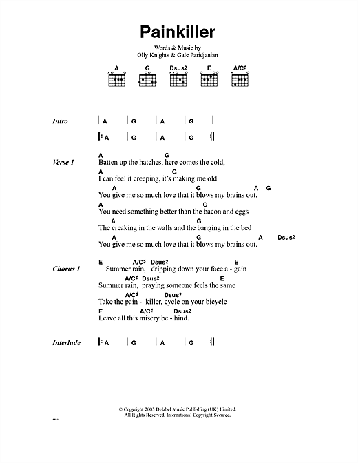 Turin Brakes Pain Killer sheet music notes and chords. Download Printable PDF.