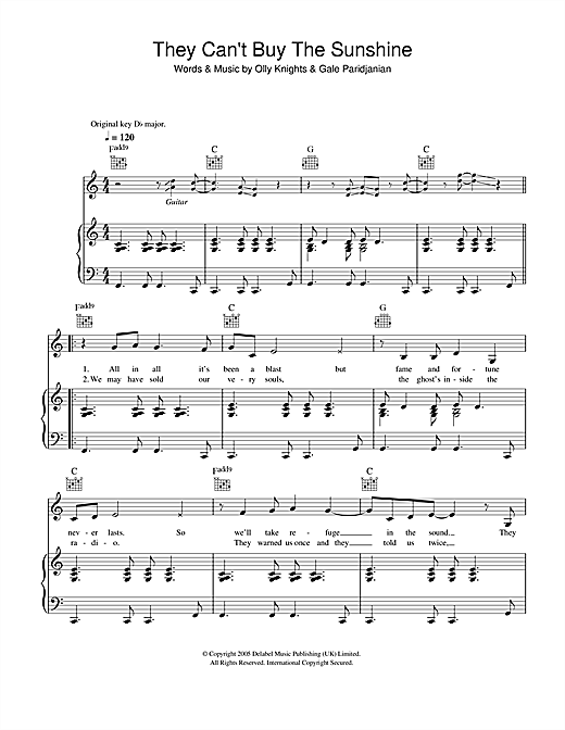 Turin Brakes They Can't Buy The Sunshine sheet music notes and chords. Download Printable PDF.
