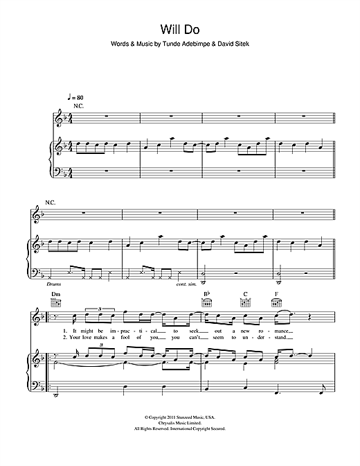 TV On The Radio Will Do sheet music notes and chords. Download Printable PDF.