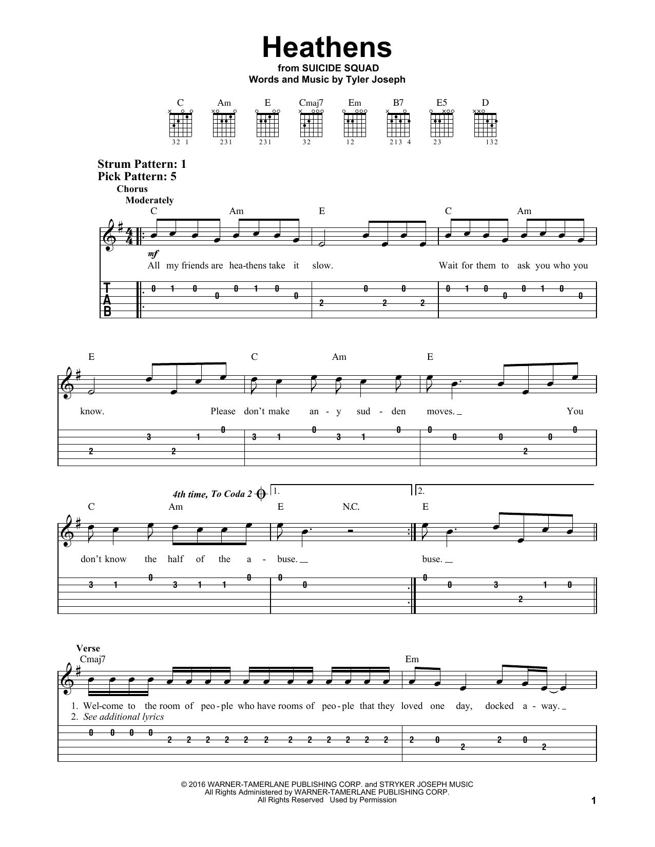 twenty one pilots Heathens sheet music notes and chords
