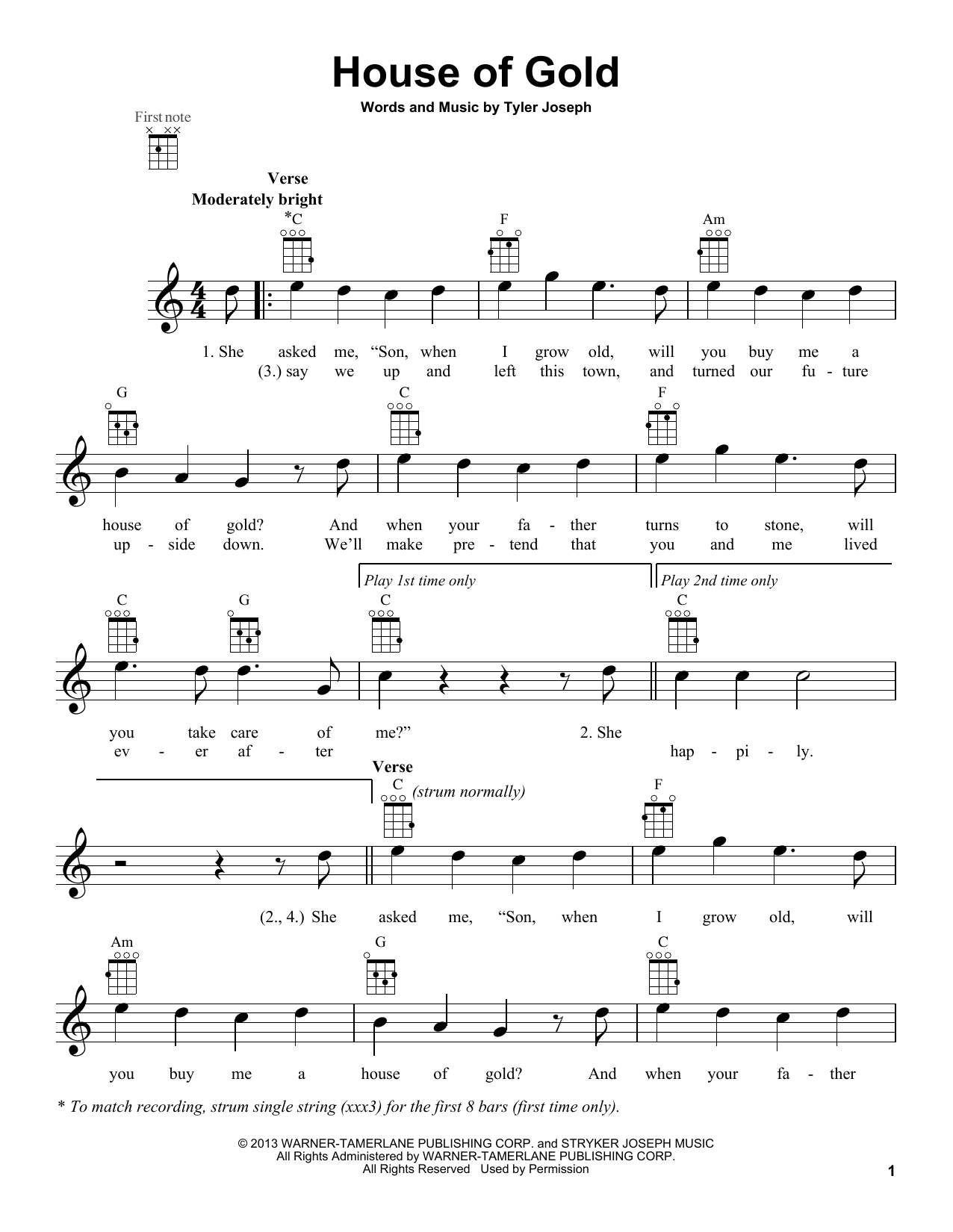 twenty one pilots House Of Gold sheet music notes and chords