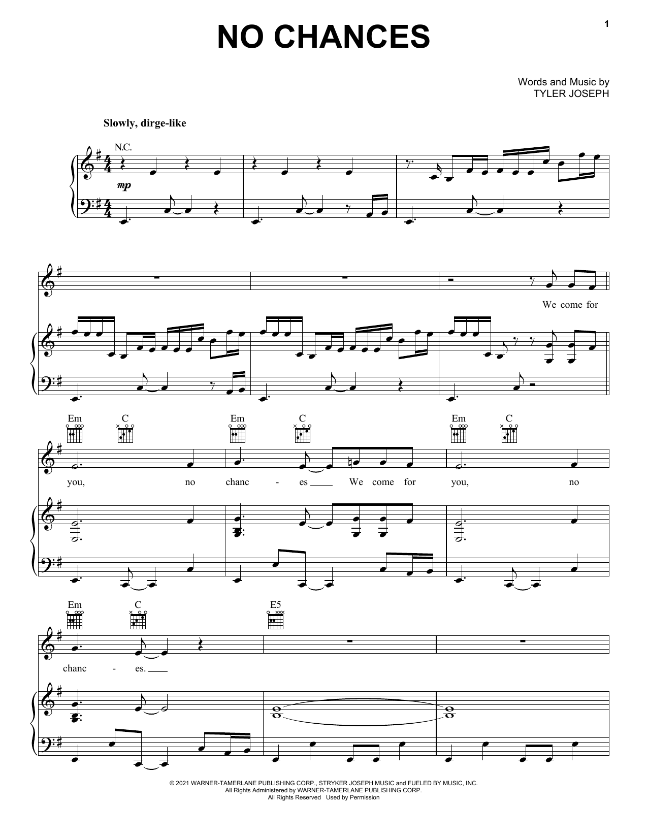Twenty One Pilots No Chances sheet music notes and chords. Download Printable PDF.