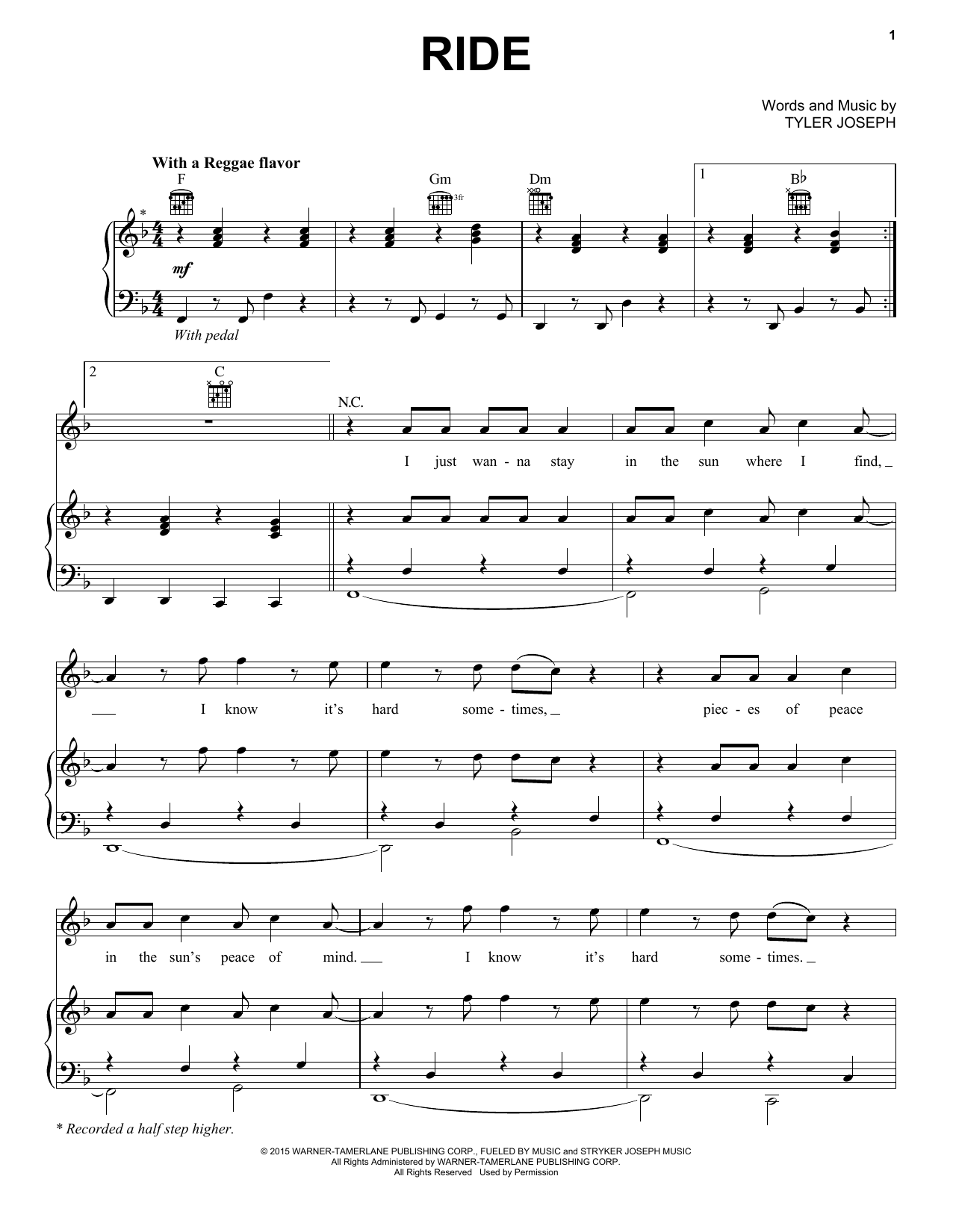 twenty one pilots Ride sheet music notes and chords