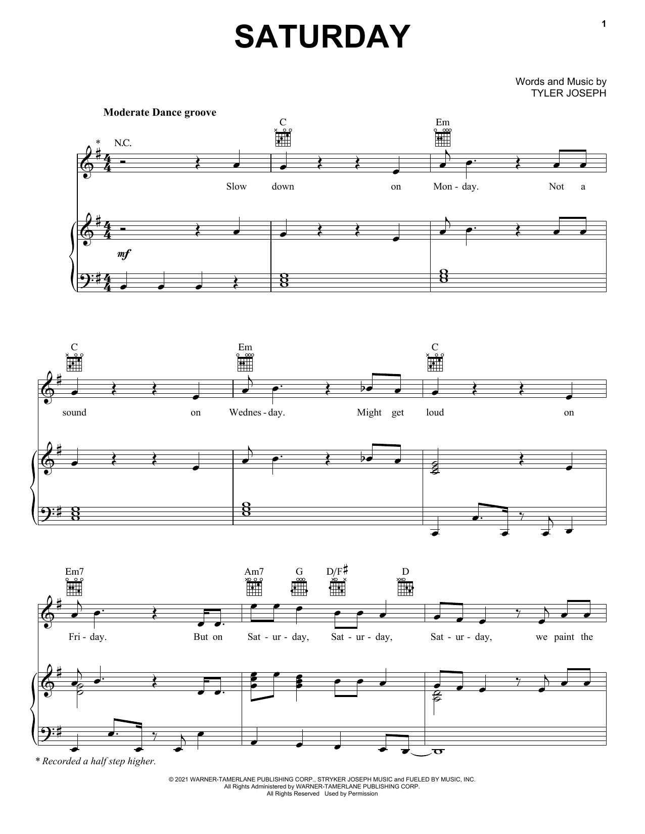 Twenty One Pilots Saturday sheet music notes and chords. Download Printable PDF.