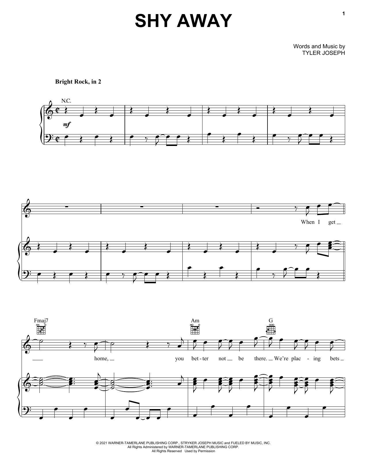 Twenty One Pilots Shy Away sheet music notes and chords. Download Printable PDF.