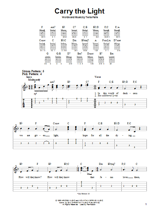Twila Paris Carry The Light sheet music notes and chords. Download Printable PDF.