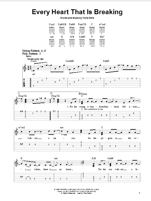 Twila Paris Every Heart That Is Breaking sheet music notes and chords. Download Printable PDF.