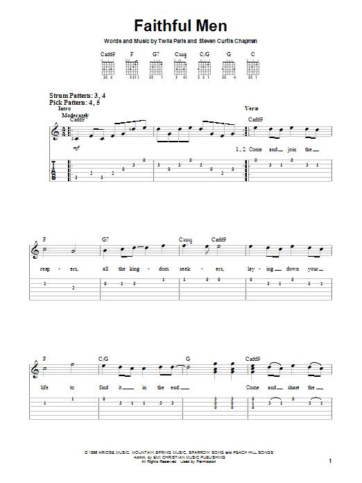 Twila Paris Faithful Men sheet music notes and chords. Download Printable PDF.
