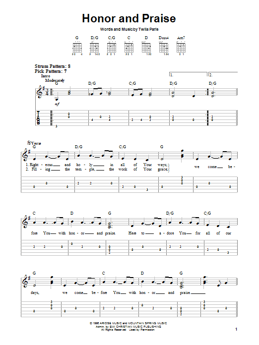 Twila Paris Honor And Praise sheet music notes and chords. Download Printable PDF.