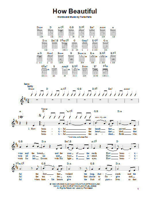 Twila Paris How Beautiful sheet music notes and chords. Download Printable PDF.