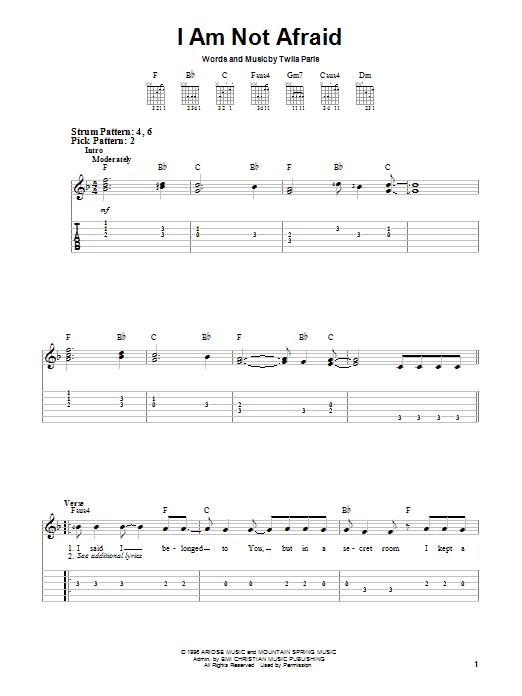 Twila Paris I Am Not Afraid sheet music notes and chords. Download Printable PDF.