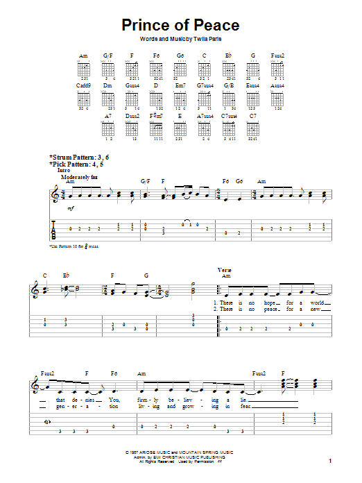 Twila Paris Prince Of Peace sheet music notes and chords. Download Printable PDF.
