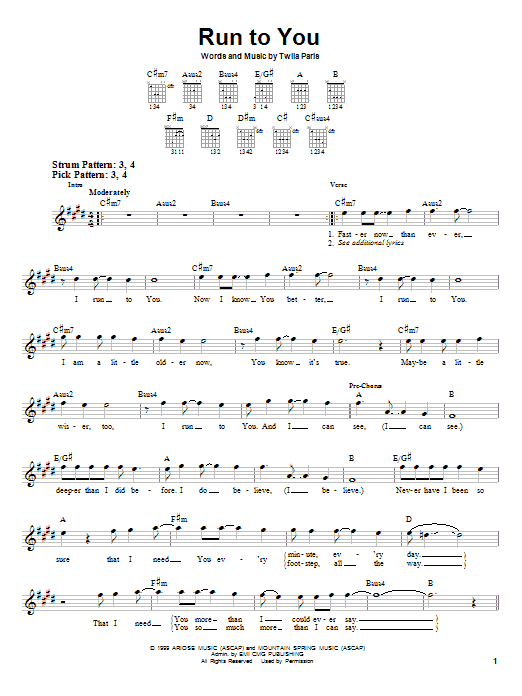 Twila Paris Run To You sheet music notes and chords. Download Printable PDF.