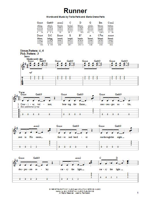 Twila Paris Runner sheet music notes and chords. Download Printable PDF.