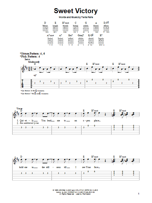 Twila Paris Sweet Victory sheet music notes and chords. Download Printable PDF.