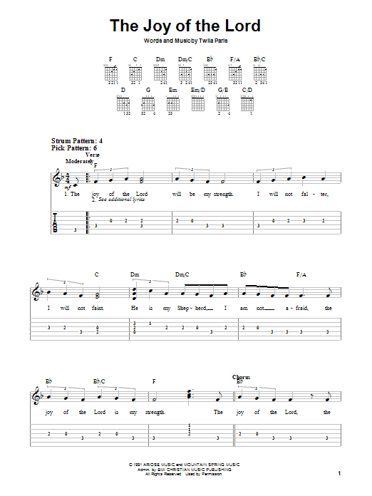 Twila Paris The Joy Of The Lord sheet music notes and chords. Download Printable PDF.