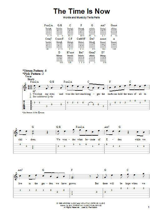 Twila Paris The Time Is Now sheet music notes and chords. Download Printable PDF.