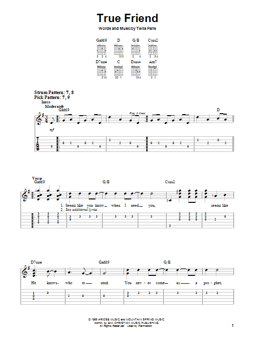 Twila Paris True Friend sheet music notes and chords. Download Printable PDF.