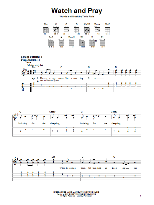 Twila Paris Watch And Pray sheet music notes and chords. Download Printable PDF.