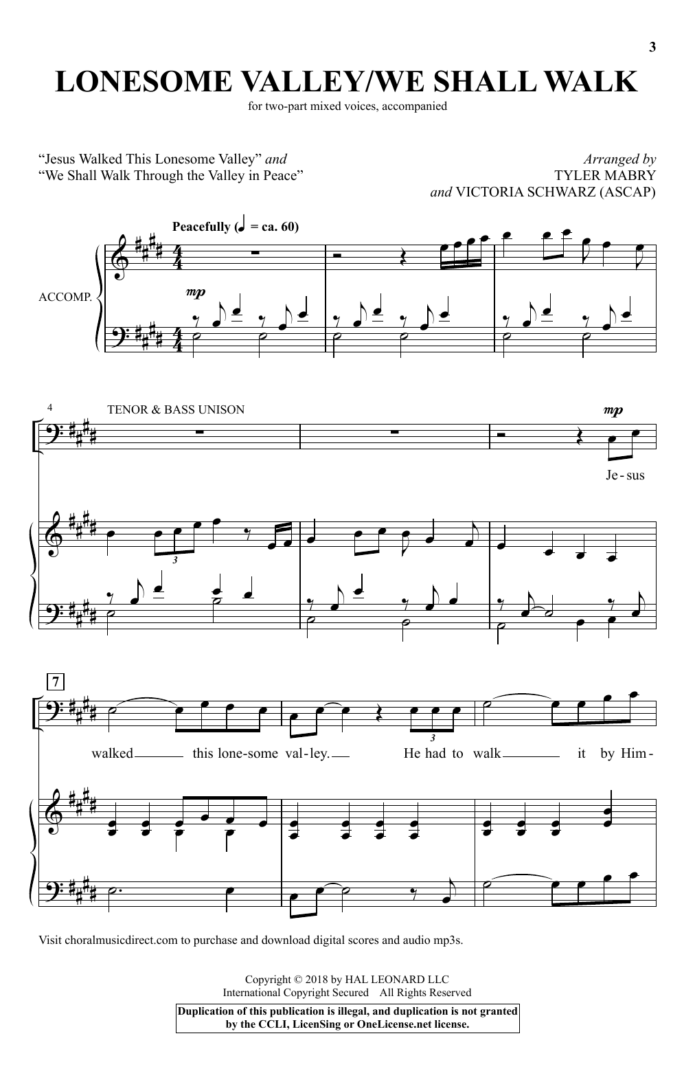 Tyler Mabry & Victoria Schwarz Lonesome Valley/We Shall Walk sheet music notes and chords. Download Printable PDF.