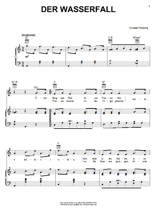 Tyrolean Folksong Der Wasserfall sheet music notes and chords. Download Printable PDF.