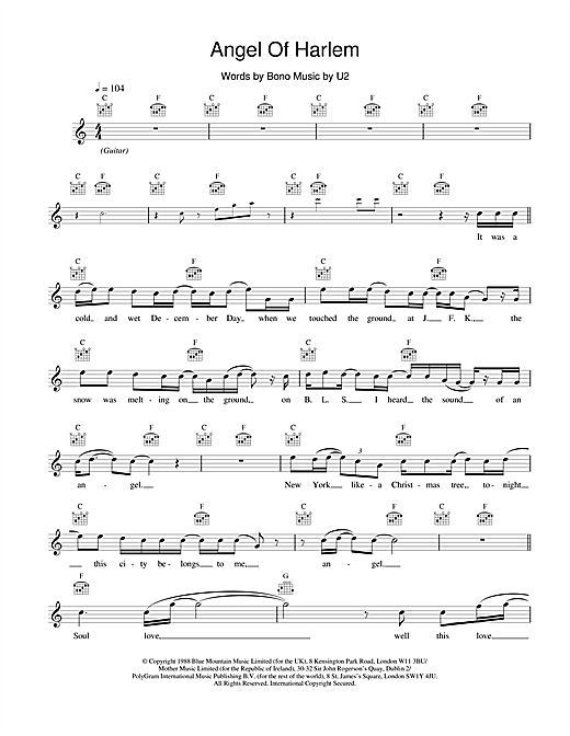 U2 Angel Of Harlem sheet music notes and chords