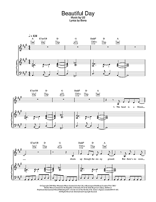 U2 Beautiful Day sheet music notes and chords