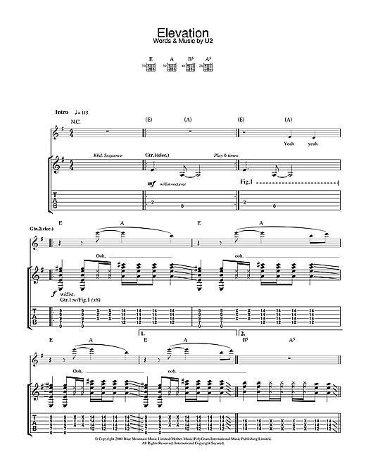 U2 Elevation sheet music notes and chords. Download Printable PDF.