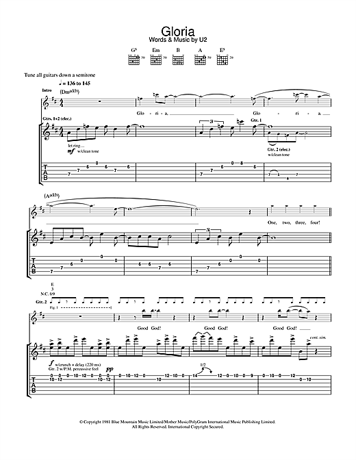 U2 Gloria sheet music notes and chords. Download Printable PDF.