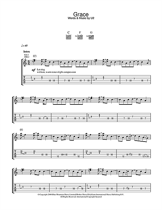 U2 Grace sheet music notes and chords. Download Printable PDF.