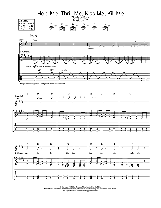 U2 Hold Me, Thrill Me, Kiss Me, Kill Me sheet music notes and chords
