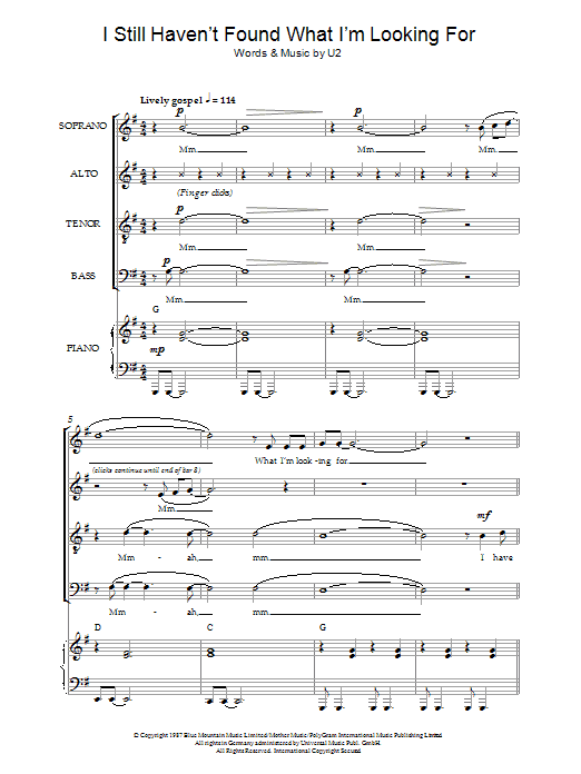 U2 I Still Haven't Found What I'm Looking For (arr. Jeremy Birchall) sheet music notes and chords. Download Printable PDF.