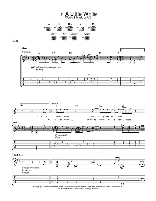 U2 In A Little While sheet music notes and chords. Download Printable PDF.