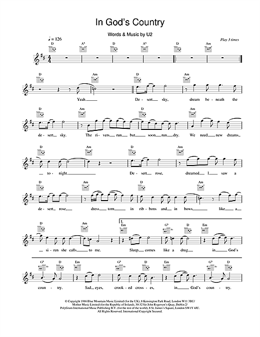 U2 In God's Country sheet music notes and chords