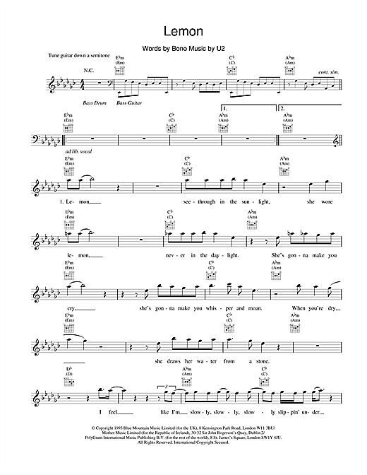 U2 Lemon sheet music notes and chords. Download Printable PDF.
