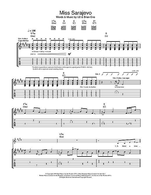 U2 Miss Sarajevo sheet music notes and chords. Download Printable PDF.