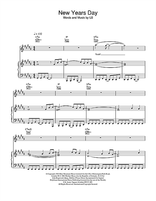U2 New Year's Day sheet music notes and chords